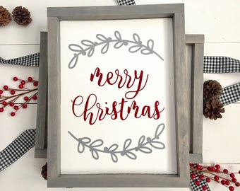 Red & Gray Merry Christmas wood sign