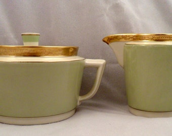 Royal Copenhagen Dagmar Sugar and Creamer, Signed, 1930's, Madeira Green