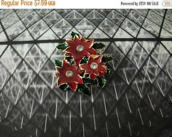 ON SALE Vintage Enameled Clear Rhinestones Floral Pin 82817