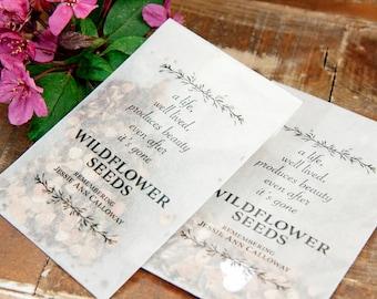 Memorial, Celebration of Life, Wildflower Keepsake - Remembering Loved Ones, Plantable favor gift