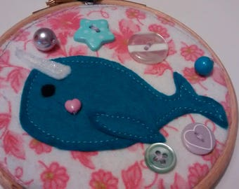 4'' NARWHAL embroidery art hoop