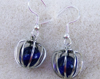 Vintage Caged Earrings - Rich & Luxurious, Handmade, Royal Blue Glass, Silver Ear Wires by JewelryArtistry - E547