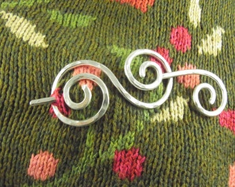 Silver Shawl Pin/Brooch/Slide Double Spiral Minimalist