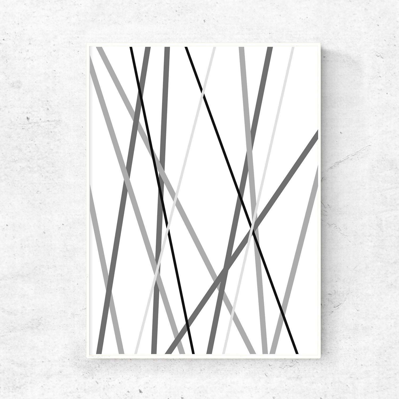 Grey black and white geometric line print abstract line art