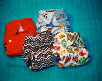 6 PACK!!! Get one Diaper Free!!! One Size (OS) - All in 2 (AI2) Cloth Diaper includes insert/soaker with gusset - Made to Order