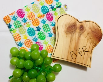 Pineapple DUO snack and sandwich bag has flap, waterproof, washable and reusable