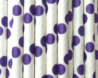 25 Purple Polka Dots Paper Drinking Straws - Party Decor Supplies Tableware