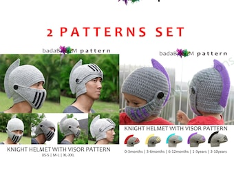 Set of 2Patterns Pdf Crochet PATTERN Child and Adult Knight Hat Crocheted Knight Helmet Hat with Visor