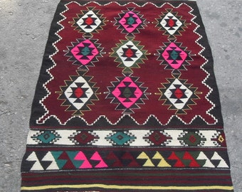 free shipping VINTAGE TURKİSH blackgoats kilim Anatolian handwoven kilim rug decorative kilim - SİZE : 31'' X 59'' ( 78 cm X 148 cm)
