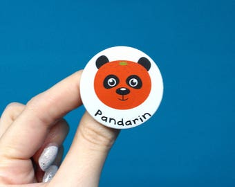Pandarin badge, orange badge, panda badge, puns, orange pin, panda pin, animal pins, animal badges, orange brooch, panda brooch, fruit badge