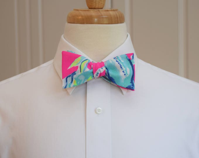 Men's Bow Tie, Lobsters in Love hot pink/blue Lilly 2018 lobster print, groomsmen/groom bow tie, wedding bow tie, prom bowtie, tux accessory