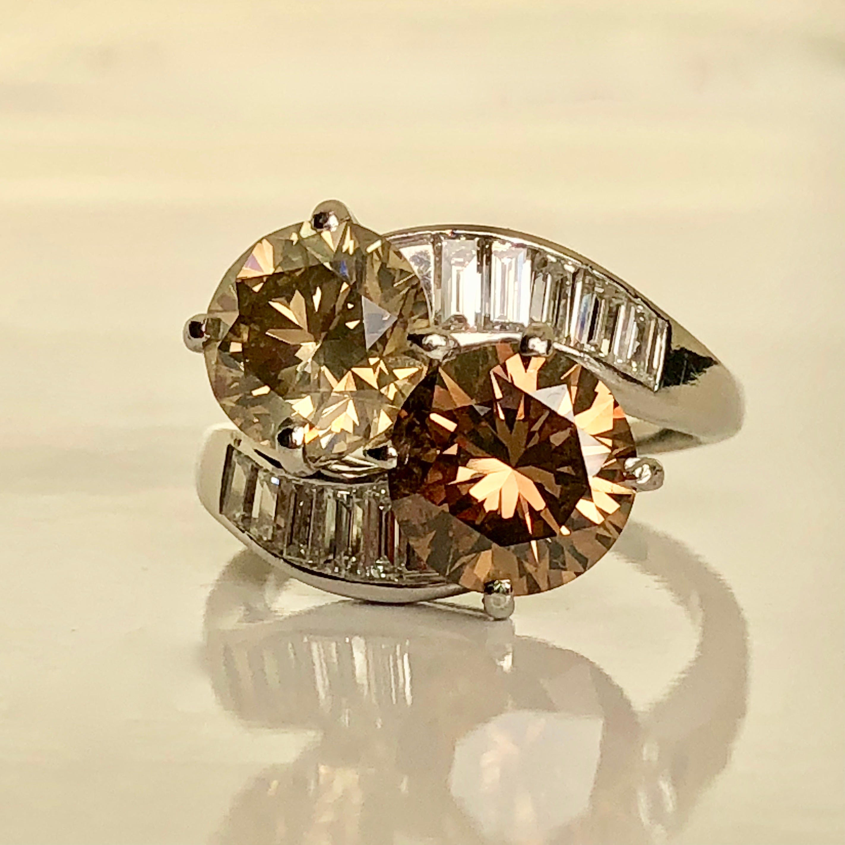 champagne ring gold diamonds rose in halo tw diamond with
