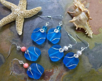 Turquoise Blue Sea Glass Earrings in Sterling Silver,  Beach Weddings, Turquoise Blue Dangling earrings, Mother's Day Gifts