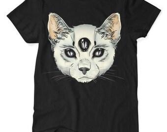 Three Eyed Cat - Satanic Cat - Tshirt - Black - S M L XL XXL XXXL