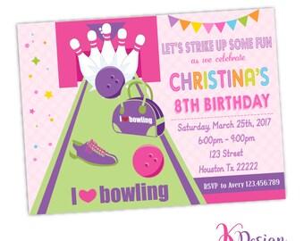 Bowling Birthday Invitation, Bowling Invite, Bowling Girl Party , Bowling Party, Printable Invitation