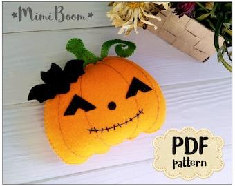 Halloween ornaments pattern Felt pattern Pumpkin Halloween ornaments tutorial Felt sewing pattern Jack O' Lantern pattern Halloween DIY