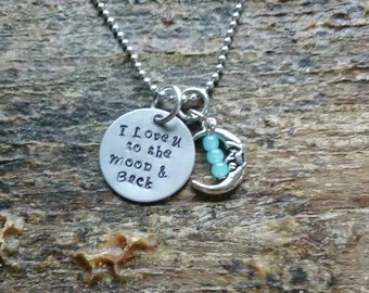 I Love U to the Moon & Back hand stamped pendant. Your choice of either Necklace or Keychain