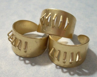 3 Solid Brass Wide Bling Ring Blanks with 5 Loops