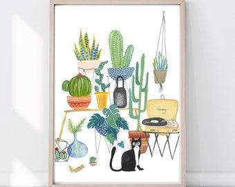 Cat Potted Jungle Print, Cat Lover Gift Indoor Plant Print, Monstera Leaf print, Cactus Print, Botanical Illustration, crazy cat lady