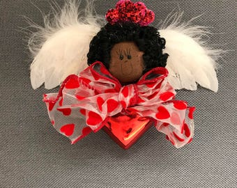 Valentine Angel Red Heart Ornament - Black
