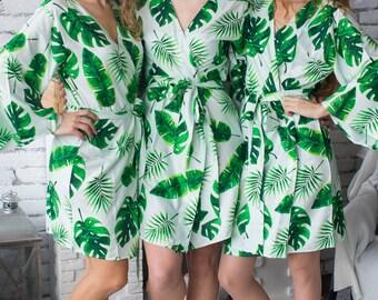 Premium White Bridesmaids Robes - Fun Tropics Pattern - Palm Leaves - Banana Leaves - Split Leaves - Soft Rayon Fabric - Botanical Design