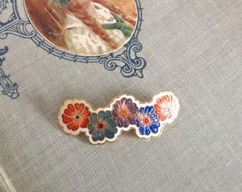 Vintage Flower Brooch Cloisonné Enamel Pink Orange Blue and Green on Gold Tone Metal