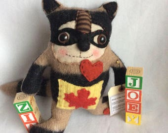 Racoon, rascal wooly critters , collectibles , repurposed sweaters , toy cuddle , Canadian , handmade , sweet , gift, for young and old