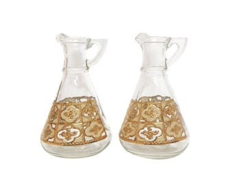 Mid Century Oil & Vinegar Set with Gold Motif
