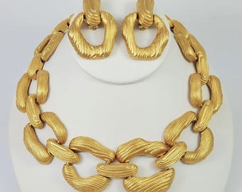 Vintage Givenchy Gold-Plated Modernist Faux Bois Statement Necklace and Earrings