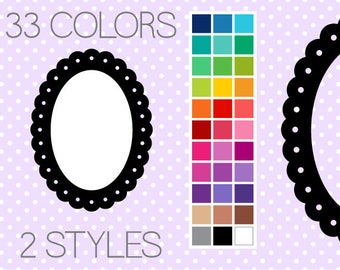 Dotted Scalloped Oval Digital Frames - Clipart Frames - Instant Download - Commercial Use