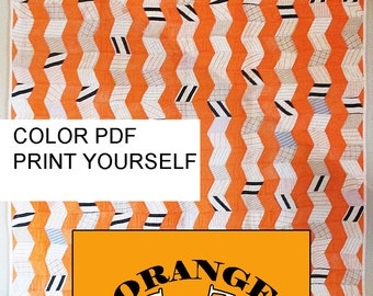 Quilt Pattern for Vintage Modern Scrappy Quilt: Orange Zig Zag. Rotary Cut or EPP a Mini. PDF with Quilt History from Barbara Brackman