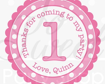 Girls 1st Birthday Party Favor Sticker Labels, Thank You Stickers, Birthday Stickers, 1st Birthday, Pink and White Polkadots - Set of 24