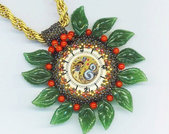 Jade& Coral Pendant .Vintage Swiss Watch movement . Emerald Green .12 Months 12 Hours - Christmas Holiday Present by enchantedbeads on Etsy