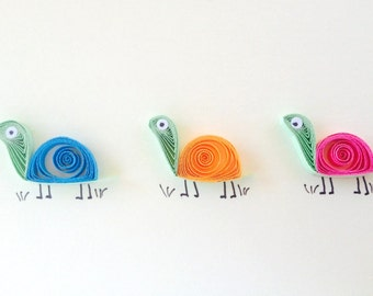 Quilled Tortoises Card, quilled art, greeting blank card with colourful funny tortoises