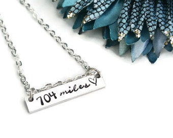 Personalized Miles Apart Long Distance Relationship   Hand Stamped Necklace   Girlfriend Gift   Deployment Gift   Aluminum Necklace