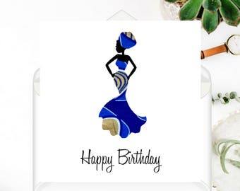"African Fabric/Ankara/Wax Print Birthday card (6"" square) - Chinyere"