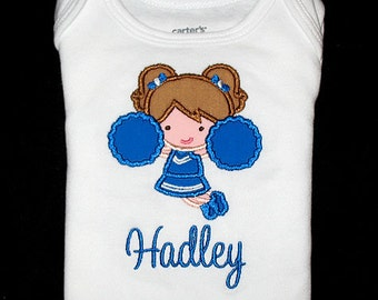Custom Personalized Applique CHEERLEADER and NAME Bodysuit or Shirt - You Choose Hair and Eye Colors - Royal Blue and White - Or Choose