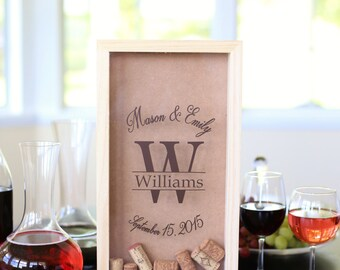 Personalized Wine Cork Keeper Custom Wedding Gift Rustic Barn Wedding Bridal Shower Present (Item # NVMHDA1221)