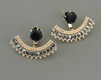 Vintage Inspired Earrings - Ear Jackets - Rhinestone Earrings - Black Earrings - Gold Earrings - Stud Earrings - Handmade Jewelry