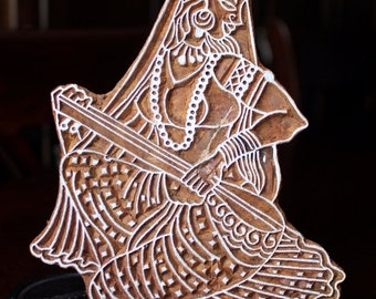 REDUCED Hand Carved Indian Wood Textile Stamp Block- Ancient Indian Woman Playing Tanpura