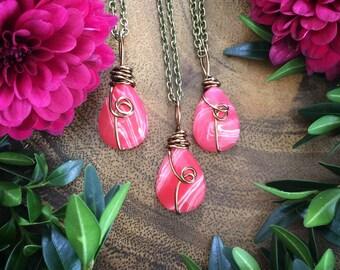 rhodocrosite necklace, faceted rhodocrosite necklace, rhodocrosite pendant, rough rhodocrosite necklace , rhodocrosite jewelry