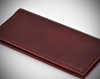 Burgundy Leather Basic Checkbook Cover, Handmade Burgundy Check Book Cover, Unisex Gift by WhiteCross Designs in USA