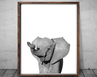 Elephant Print, Elephant Wall Art, Black and White Print, Elephant Nursery Art, African Safari Decor, Nursery Wall Art, Elephan Photography