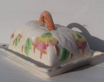 """Collectable Brentleigh Ware """"Beech"""" butter/cheese dish. Hand painted."""