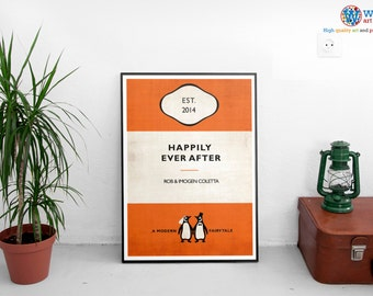 Vintage Penguin Book Style Personalised Wedding Poster Print Art - Wedding Gift