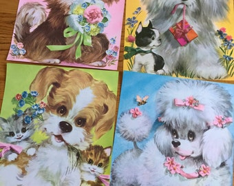 Vintage 1960s Kitschy Cute Kittens and Puppies Lithographs Poster Wall Art YOUR CHOICE / Pastel 3D Image, Vintage Nursery Playroom Kids Room