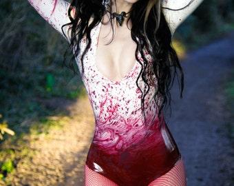 MADE TO ORDER. Blood splatter latex bodysuit leotard