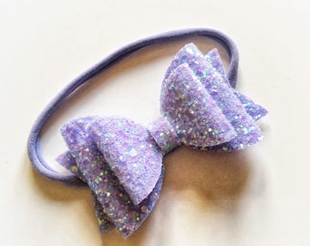 Double glitter lilac bow on nylon headband - baby toddler headbands, one size headband