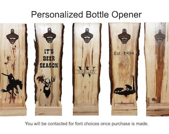 Beer Bottle Opener, Cap Catcher, Personalized Cap Catcher, Rustic Beer Bottle Opener, Live Edge Cap Catcher, Groomsmen Gift, Beer Opener