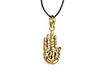 Hamsa Hand Om Aum Ohm Pendant On Cord Adjustable Necklace Spiritual jewellery Yogi Jewelry  Handmade Free UK delivery CH2